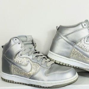 Nike Air High Top Silver Glitter